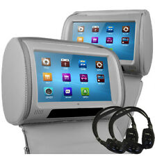 "9 ""Gris leather-style coche reposacabezas Dvd Hd Con Pantalla Táctil sd/usb/headphones / fm/ir"