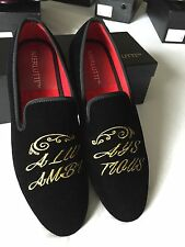 "Merlutti Handmade Velvet Loafers Embroidered ""Always Ambitious"" Size 9M US/42EU"