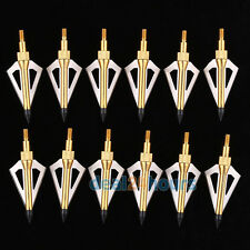 12PK Hunting arrow broadheads 100Grain 3 blade - Fits Crossbow and Compound