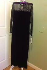 NWT!JESSICA HOWARD EVENING BLACK EMBELLISH VELVET/SHEER BODICE MAXI DRESS ~ Sz.8