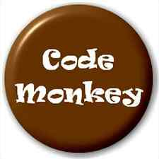 NEW LAPEL PIN BUTTON BADGE: CODE MONKET IT GEEK