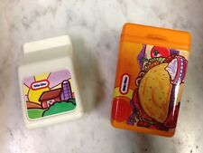 2 LITTLE TIKES VINTAGE Pretend Food Play Replacement Parts Milk & Tacos