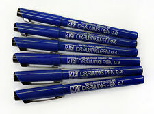 ZIG Artist Drawing Pens- Set of 6 Fine Tip sizes- Permanent black pigment ink