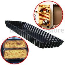 Fluted Pie Tart Pan Mold Baking Removable Bottom Nonstick Quiche Tool Rectangle