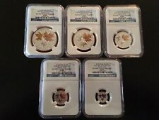 2016 NGC PF69 ER CANADA REVERSE PROOF SILVER 5 COIN GILT MAPLE LEAF SET BLUE