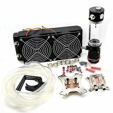 Water Cooling Kit 45mm Thick 240 Radiator CPU GPU Block Pump Reservoir USA