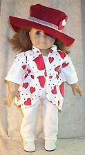 """Doll Clothes fit American Girl 18""""-inch Valentine Steampunk Hat 3pcs Red White"""
