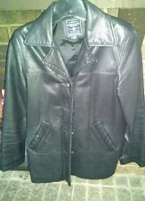 American Eagle Outfitters Women Leather Jacket Blazer Vintage Black Small