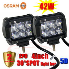 "2PC* 42W 4""INCH 5D OSRAM LED SPOT Work Light Bar Offroad Driving Lamp 4WD Truck"