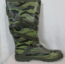 Dirty Laundry Camouflage Rain Boots with Belts & Studs Women's Shoes Size 10