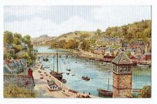 CORNISH POST CARD ART CARD BY A R QUINTON OF LOOE RIVER AND BRIDGE