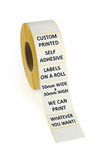 1000 Self Adhesive Labels on a Roll - PERSONALISED CUSTOM PRINTED - 50mm x 30mm
