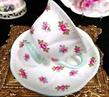 SHELLEY TEA CUP AND SAUCER ROSEBUD  FOOTED DAINTY SHAPE TEACUP PINK ROSE