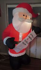 7FT GEMMY BLOW UP AIRBLOWN CHRISTMAS LIST INFLATABLE SANTA CLAUS + STAKES & TIES