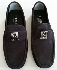 FENDI MEN'S GRAY LOGO SUEDE DRIVERS SIZE 10 U.S.