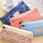 Flower Canvas Pencil Case Cosmetic Makeup Coin Pouch Zipper Bag Purse Vintage