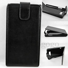 Black Vertical Flip PU Leather Floding Pouch Cover Case For  LG Optimus L7 P705