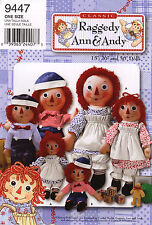 "Simplicity Sewing Pattern 9447 RAGGEDY ANN ANDY Dolls and Clothes 15"" 26"" 36"""