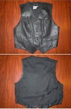 BOUTIQUE EUROPA Womens Button Front Leather Vest Black Size M Medium