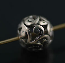 Loose 10Ps Tibet Silver Hollow Out Round Loose Bead Spacer Charms Finding 11mm