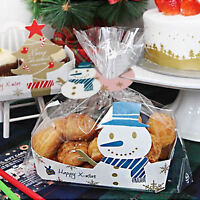 Blue Snowman Christmas Sandwich Biscuit Cello Cellophane Party Gift Bags & Boxes