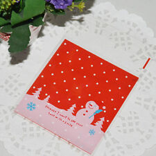 Christmas Snowman Delicacy Gift Candy Cookies Adhesive Seal Plastic Bag 20pcs