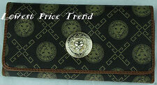Fashion Faux Leather Trifold Wallet Lion Print Clutch Long Card Purse Brown
