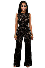 Black Lace Nude Illusion Jumpsuit playsuit Romper party wear size 10-12