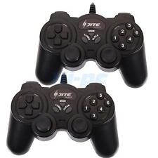 2 x USB Wired Two Shock Computer Game Pad Controller Joystick Joypad for PC US