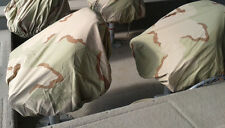 LOT OF TWO PEDESTAL BOAT SEAT COVERS TRACTOR SEAT DUCK BLIND DESERT CAMO COTTON