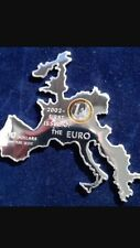 2002 nauru first issue of euro  Europe map silver  coin no Coa no box