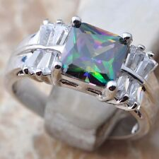 Exceclent Rainbow Topaz Gemstone  Silver Ring Size7 B0136