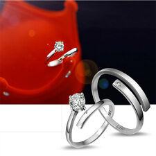 Lover Silver Crystal Couple Rings Her and His Promise  Korean Version Together