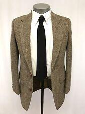 vintage mens brown herringbone HARRIS TWEED jacket sport suit coat fitted 36 R