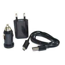 KIT 3 IN 1 CARICABATTERIE RETE AUTO CAVO MICRO USB TRAVEL CAR SAMSUNG LG NOKIA