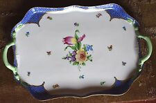 Large HEREND PRINTEMPS Flowers BLUE Fishnet BORDER Tea / Coffee Set Serving Tray