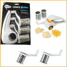 Multi Rotary Grater Chef Aid White Hand Held Kitchen Helper Slicer 3 Drums White