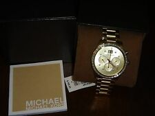 Michael Kors Women's Brinkle Gold Tone Watch Chronograph Crystals 40mm MK6187