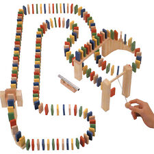 200 Piece Wooden Domino Knockdown Circuit Rally Trail Race Game Toy 00435
