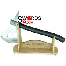 Assassins Creed Boarding Axe Stainless Steel Sharp w Hardwood Stand Hatchet
