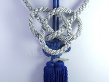 2 In 1 Chinese Blue Kiku Knot Gray Kin Rope For Car Rearview Mirror Vip Charms