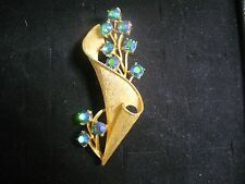 Vintage Coro Brushed Goldtone Metal Blue Crystal Flower Motif Brooch Pin