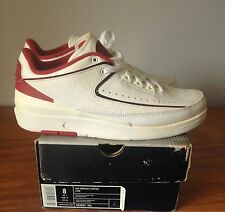2004 Nike Air Jordan II 2 Retro Low WHITE BLACK RED Mens Size 8 309837-101