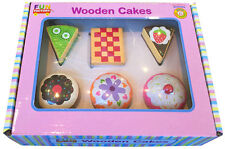 PRETEND Play 6 WOODEN CAKES CUPCAKES Desserts PRESCHOOL Educational Toy FOOD TEA