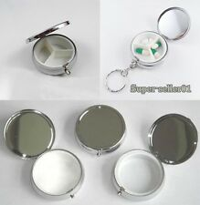 Metal Round Silver Pill Boxes Advantageous Container Medicine Case Small Case