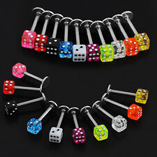 Likesome Chic 20x Cube Dice Lip Ear Studs Rings Tragus Labret Body Piercing Bars