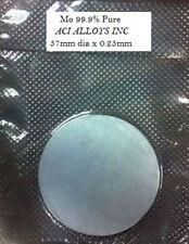 SEM Sputtering target: Molybdenum 99.9% pure, 57mm diameter x 0.25 mm thick