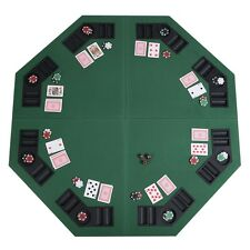 """New 48"""" Octagon 8 Player Four Fold Folding Poker Table Top & Carrying Case"""
