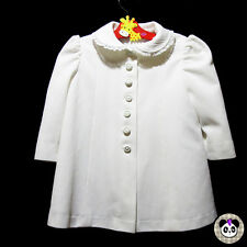 Vtg Baby Toddler Jacket Approx Size 12-24 Months White Lace Buttons Coat