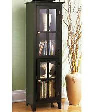 CONTEMPORARY WOOD BLACK ESPRESSO FURNITURE 2-DOOR DVD CD BOOK DISPLAY CABINET